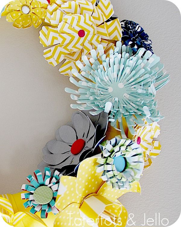 Make a paper wreath and template to print off and cut paper flowers.