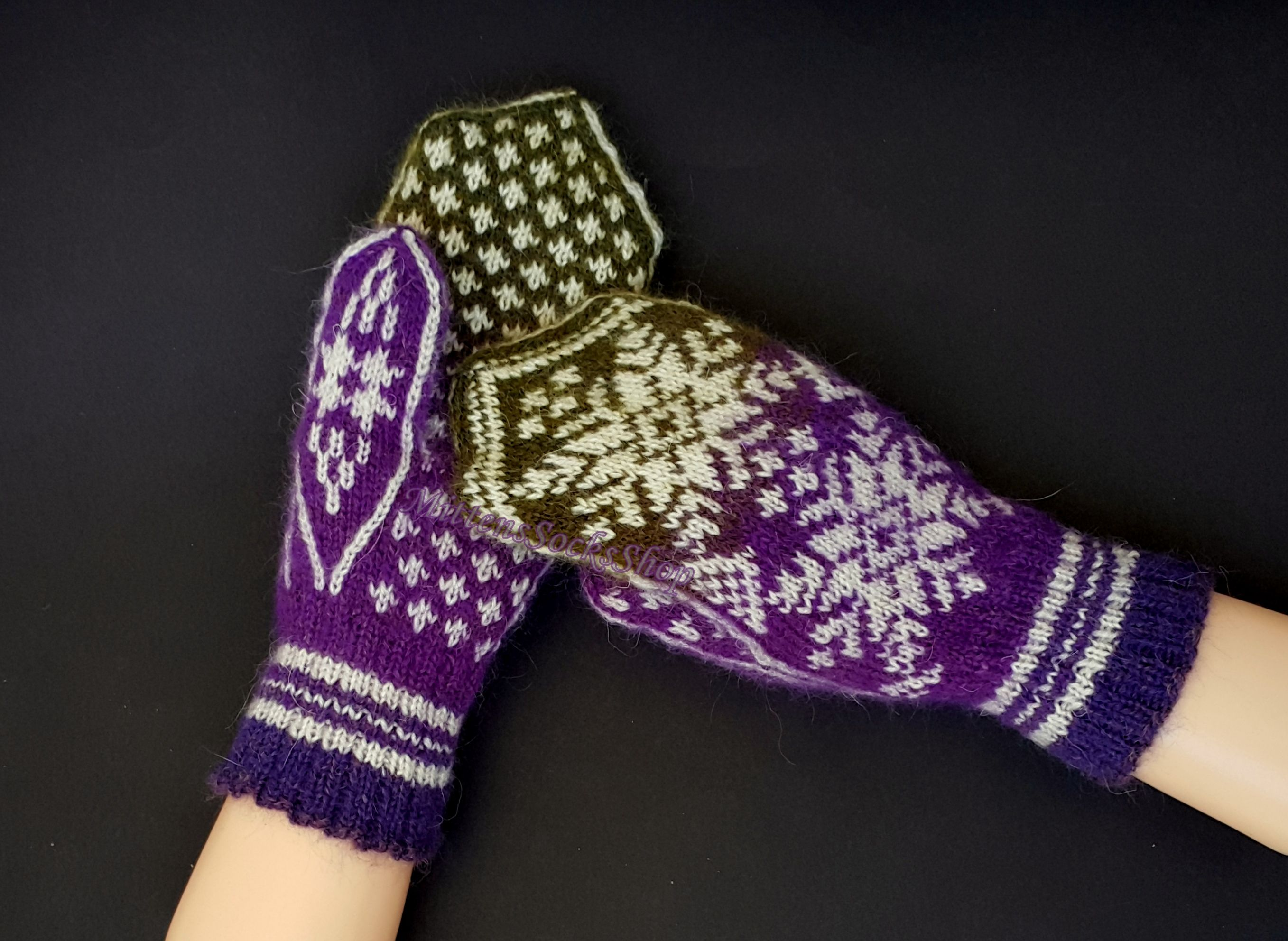Purple White Green Knitted Nordic Mittens from Wool and Mohair ...
