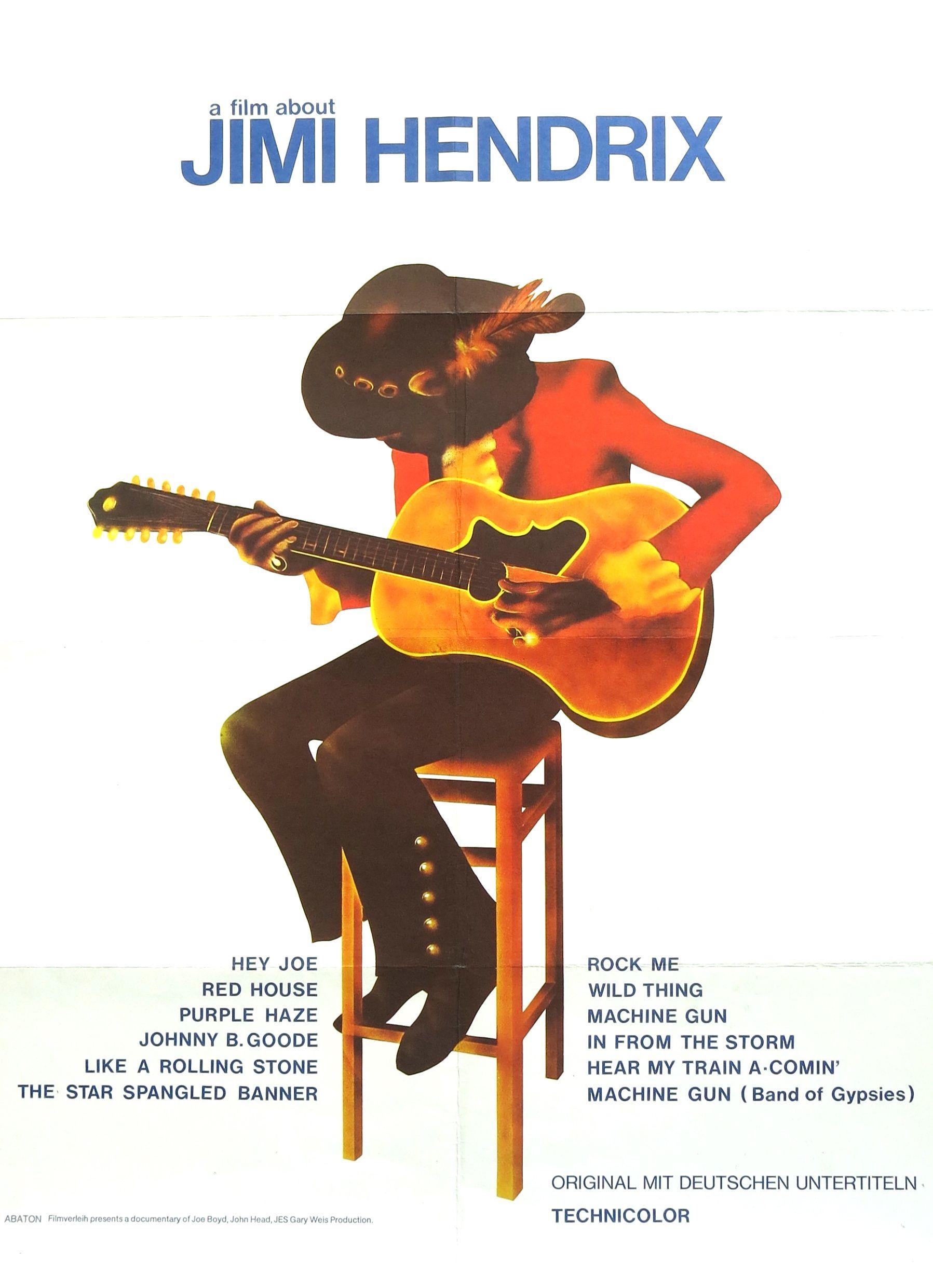 jimi hendrix 1973 poster for a film about jimi hendrix recordmecca recordmecca rare. Black Bedroom Furniture Sets. Home Design Ideas