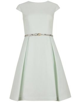 Ted Baker Full Skirt Belted Dress, Mint, John Lewis