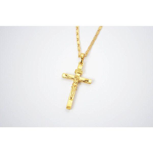 Gold cross necklace cross pendant necklace 24 liked on gold cross necklace cross pendant necklace 24 liked on polyvore featuring jewelry aloadofball Images
