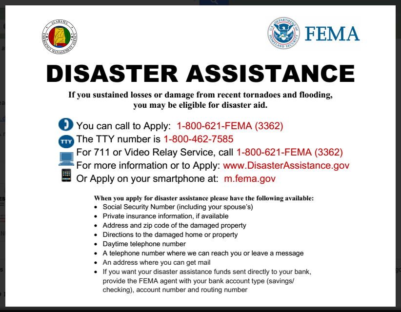 Fema Disaster Assistance  English  Community Information