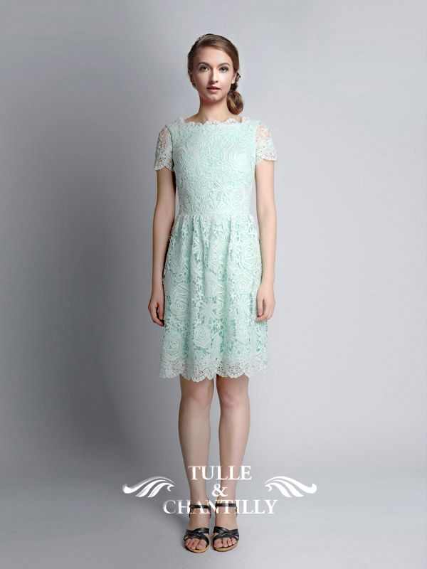 4a49eb604bce5 Lucite Green Tea Length Lace Dresses. After checking the whole 2015 wedding  color trends (check it HERE), let's turn on the spring wedding colors.