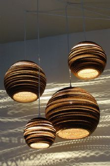 GrayPants Moon Ceiling Lights - Handmade From Recycled Cardboard Boxes