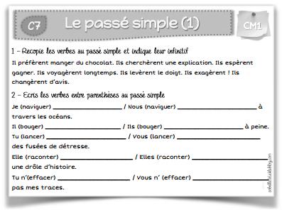 Leçons et exos passé simple CM1 | Cm1, Passé simple et ...