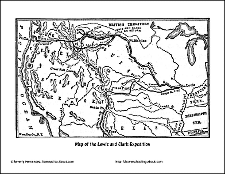 picture about Lewis and Clark Printable Map named Free of charge Lewis and Clark Printable Worksheets and Coloring Internet pages