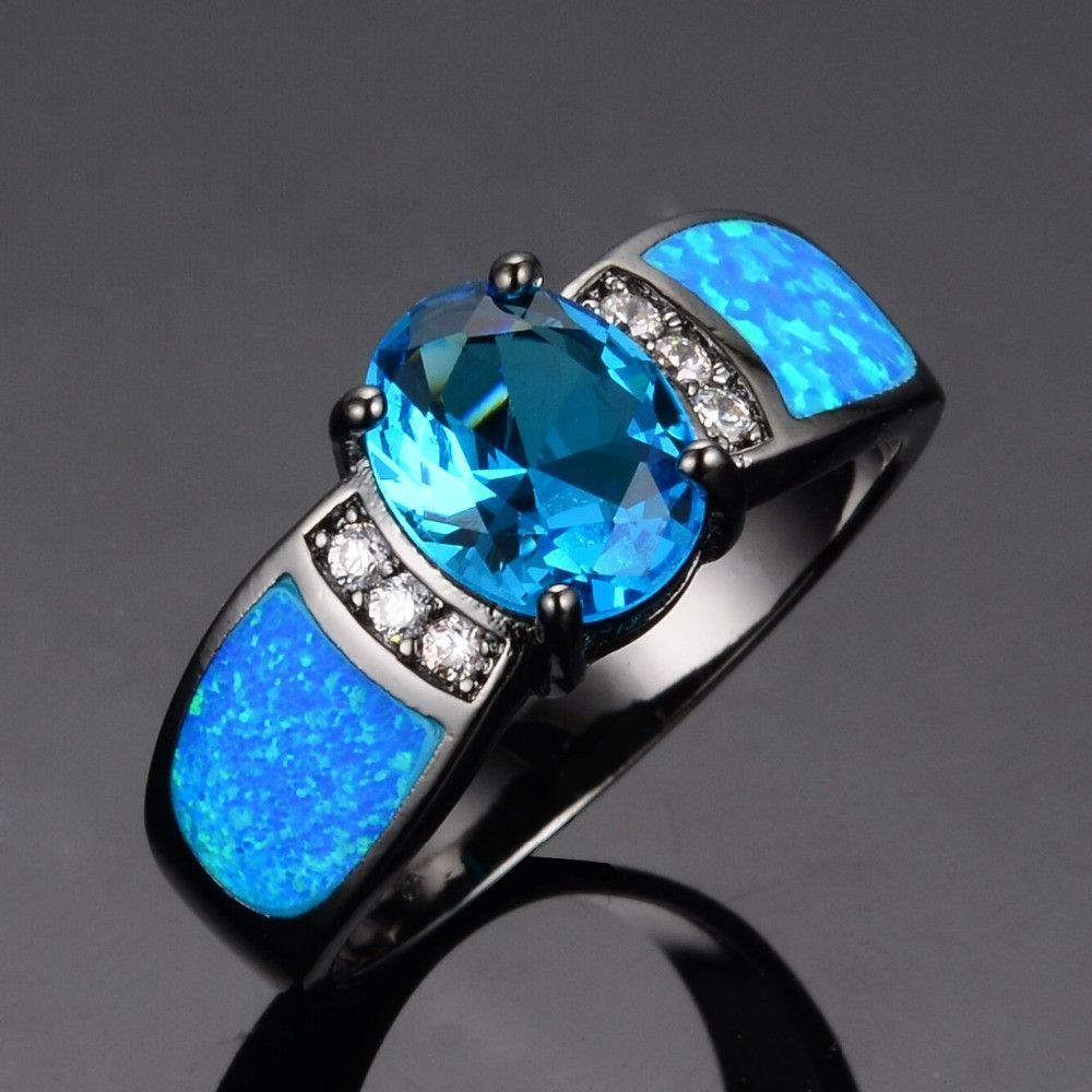 Women Wedding Ocean Blue Opal Rings 14KT Black Gold Filled