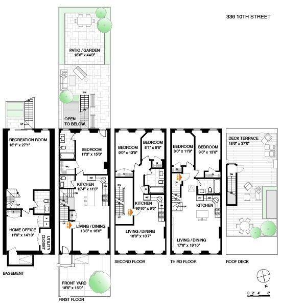 Carroll Gardens Brownstone With Huge Yard Asks 2 95m Town House Floor Plan Brownstone Homes Nyc Brownstone