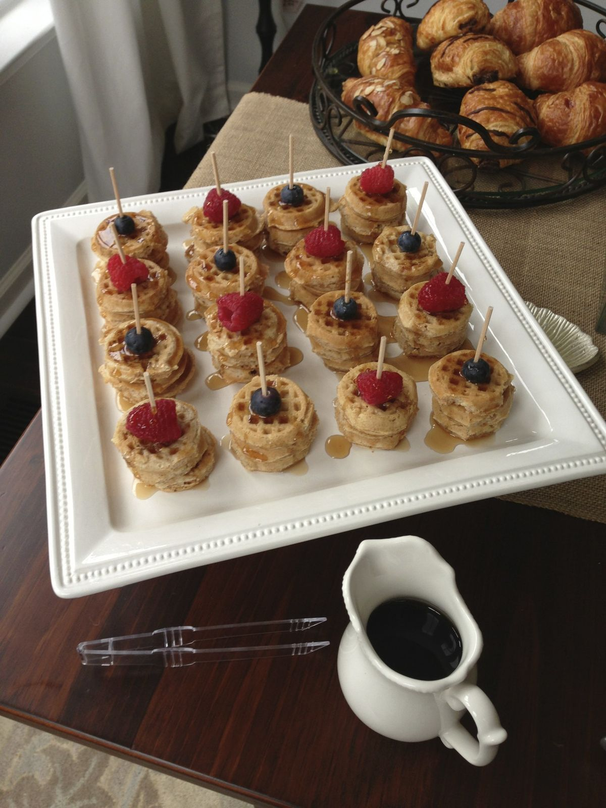 ideas for bridal shower brunch food%0A Wendy u    s Darling Waffles  Frozen mini waffles and berries with syrup  a  beautiful breakfast platter done in ten min