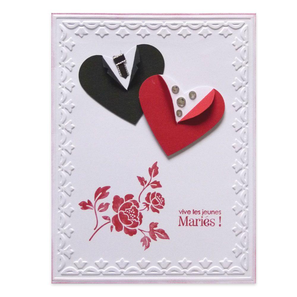 carte de félicitations mariage Carte Félicitations Mariage Coeurs en tenue de mariés, Collection