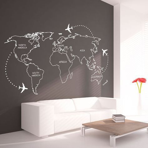World map outlines wall decal continents decal large world world map outlines wall decal continents decal large world map vinyl world map wall sticker skuwomaouwi aula y hogar gumiabroncs Image collections