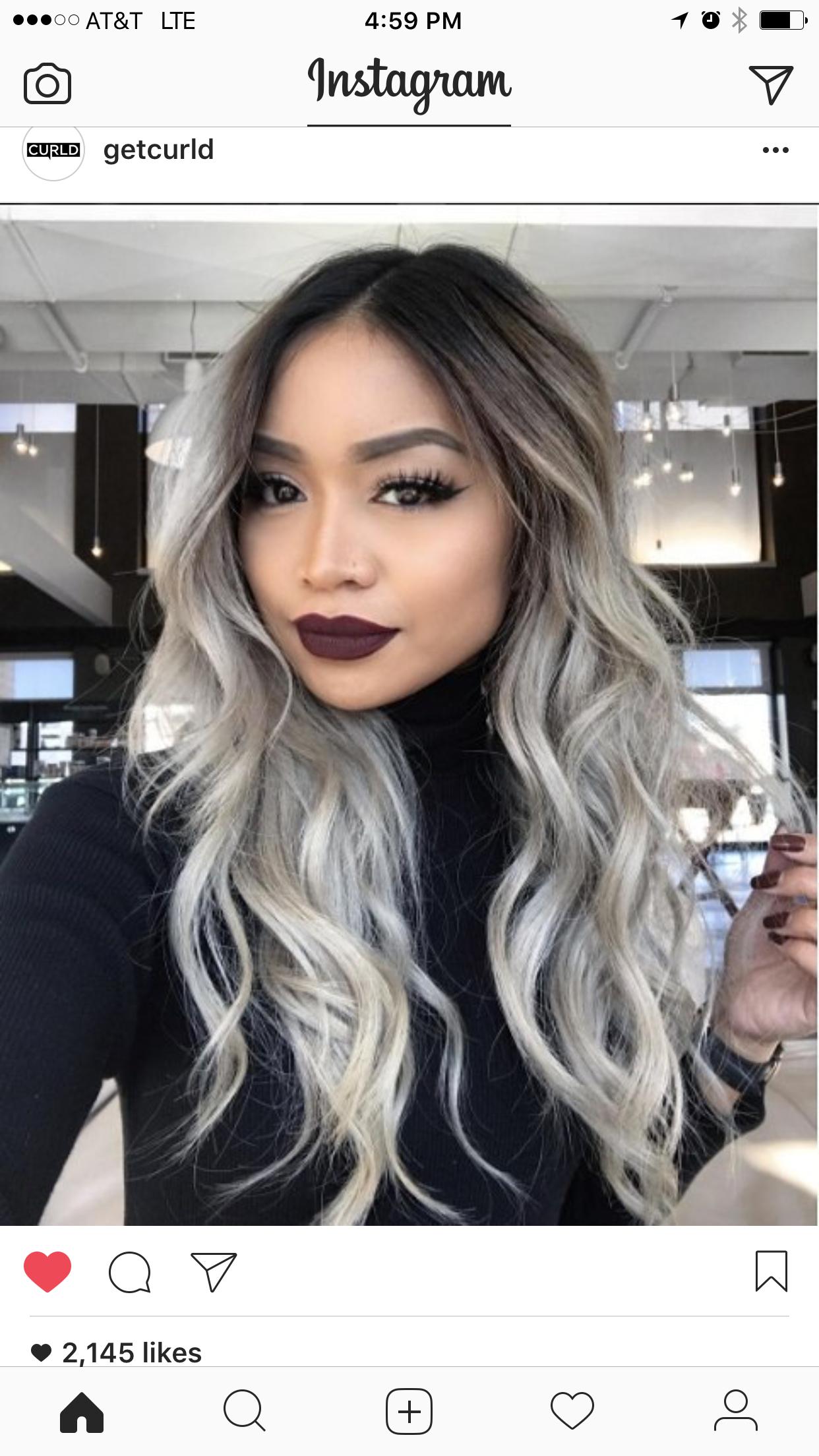 Half Black Half Silver Balayage Long Hair In 2020 Dying Your Hair Grey Silver Grey Hair Hair