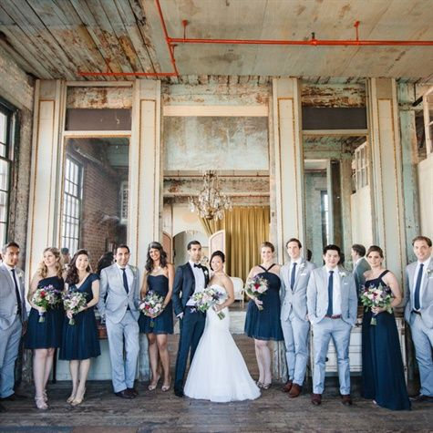 Blue Wedding Party Matthew Ree Photography Theknot Com Factory Wedding Wedding Party Photos Groomsmen Grey