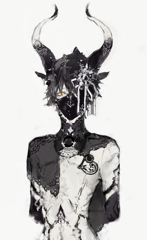 anime, art, and horns image 일러스트레이션, 캐릭터 아트