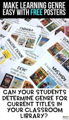 FREE genre posters with covers of current books that students can use to make connections between texts and learn the characteristics use them in your classroom library o...