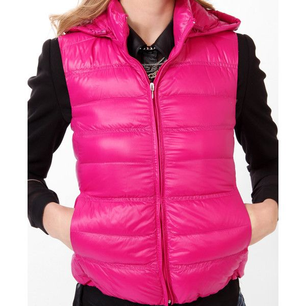 FOREVER 21 Hooded Puffer Vest ($21) ❤ liked on Polyvore featuring outerwear, vests, forever 21, pink puffer vest, puffy vest, lightweight vest and pink vest