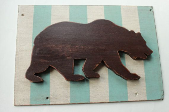 Bear with Aqua and White Stripes by stitchnest on Etsy, $40.00