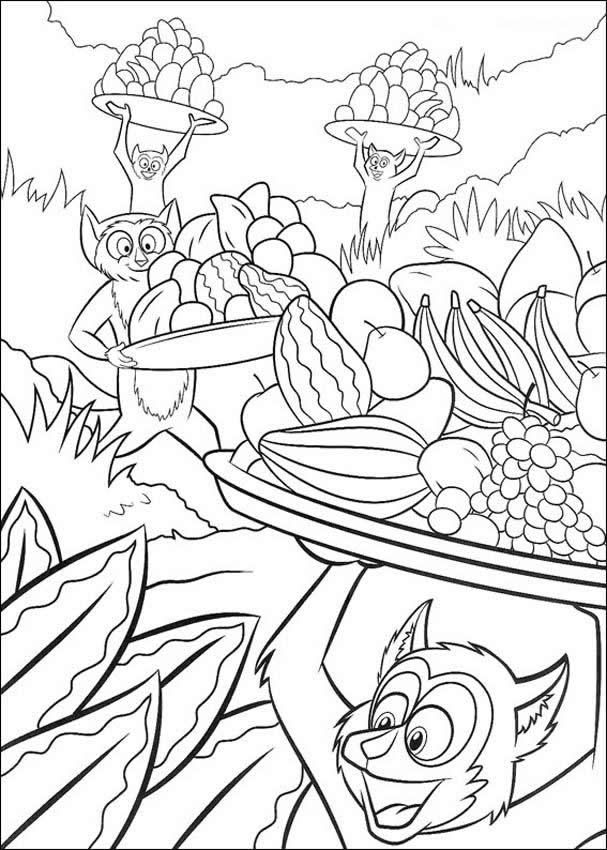 sock monkey coloring pages free | Madagascar Printables Monkey Food ...