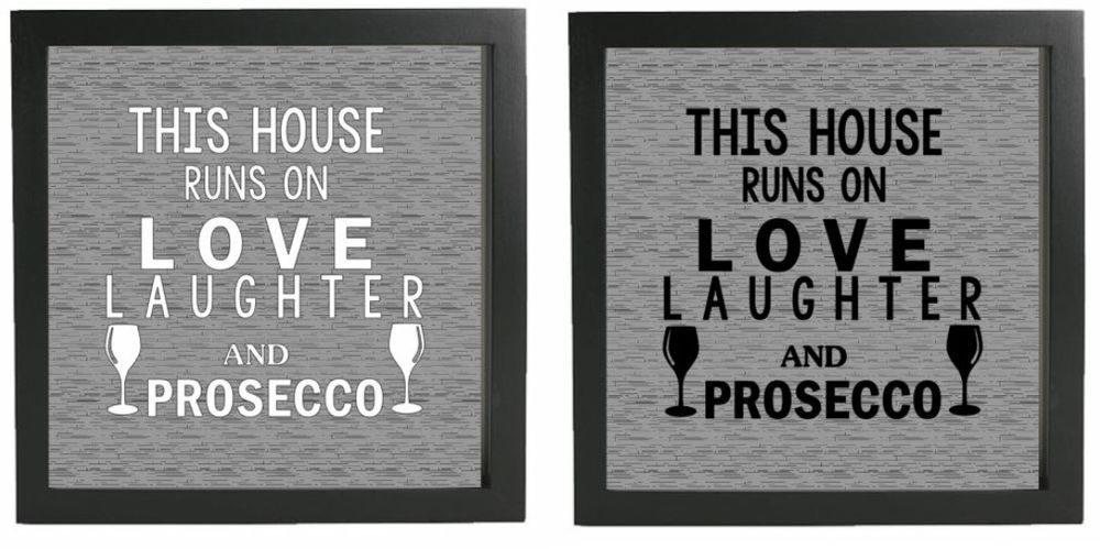 Vinyl decal diy box frame fits 20x20cm this house runs on love laughter prosecco