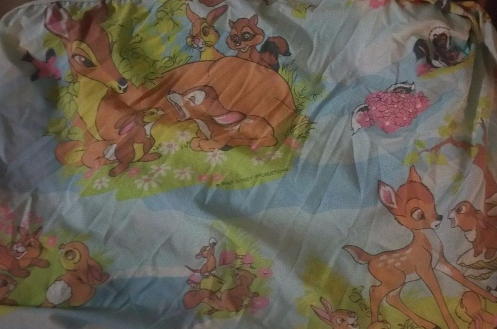 Vintage Bambi Walt Disney Twin Fitted Cutter Fabric Material #WaltDisney