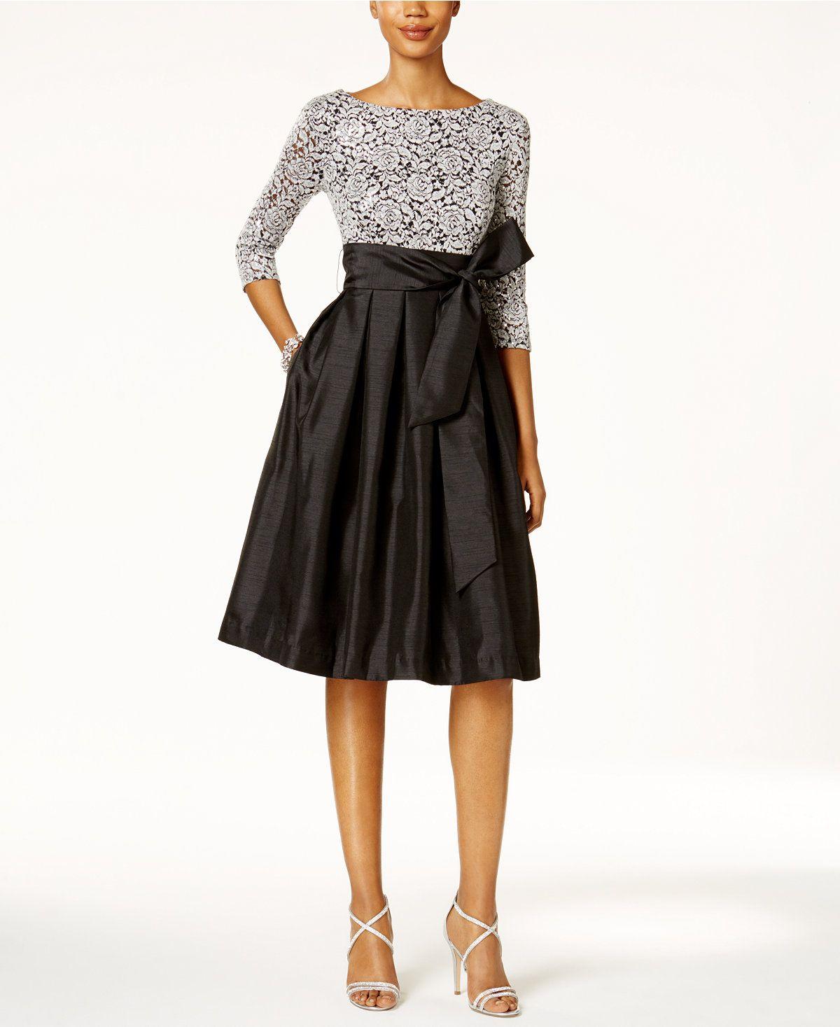 Macys womens dresses wedding  Jessica Howard Sequined Lace Taffeta Fit u Flare Dress  Fit flare