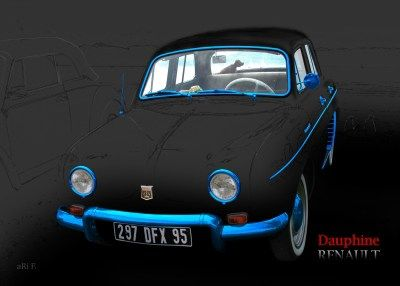 Renault Dauphine in black & blue-chrome, France