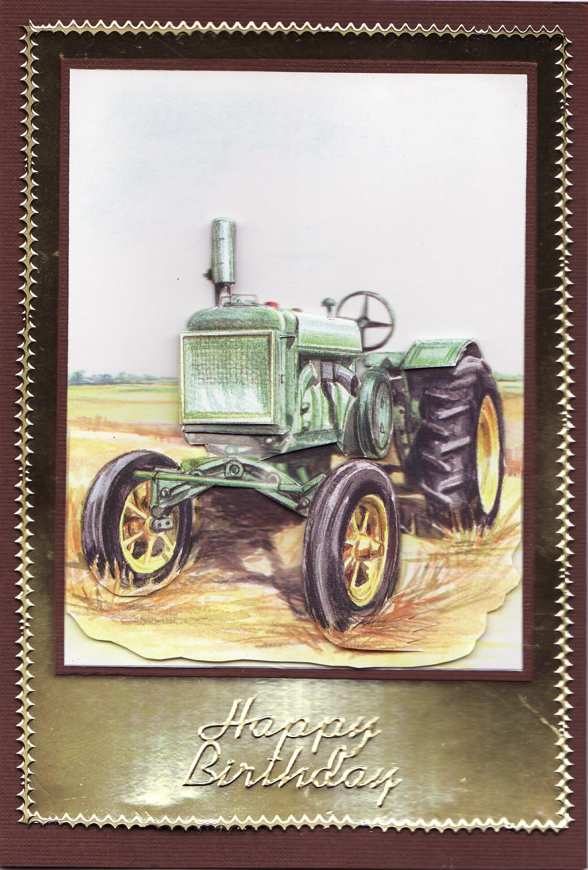 3d tractor happy birthday card by tassie scrapangel