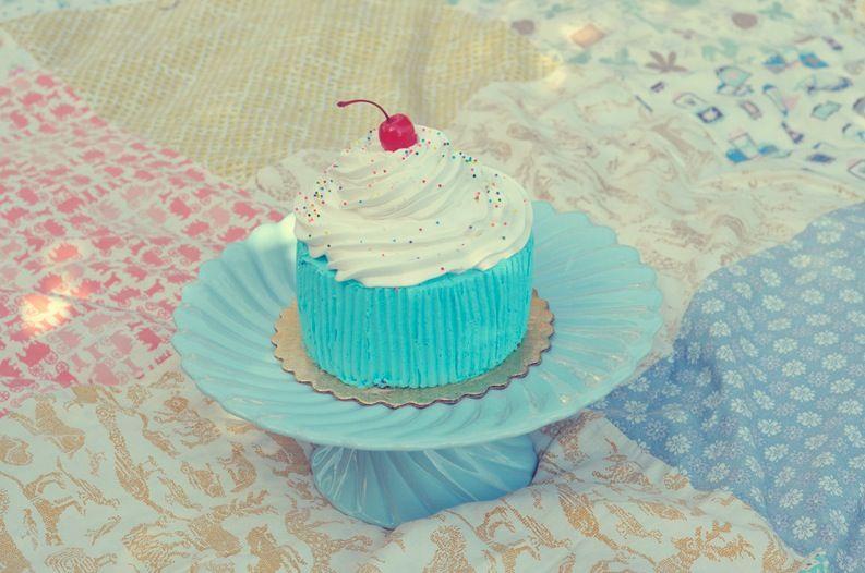 un pique-nique et un mini gâteau bleu