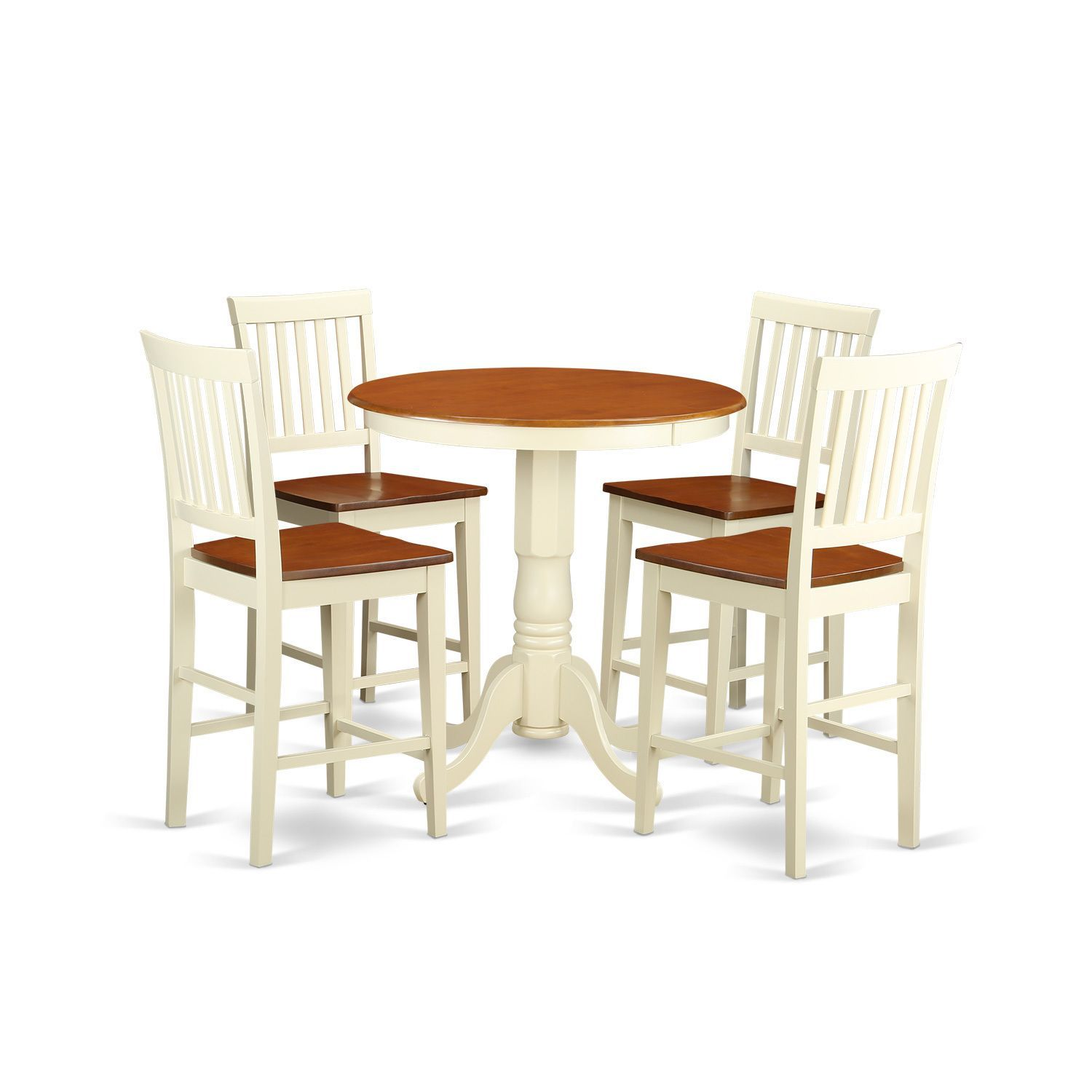 Cream and Off-white Solid Wood Five-piece Pub Table Kitchen Dinette ...