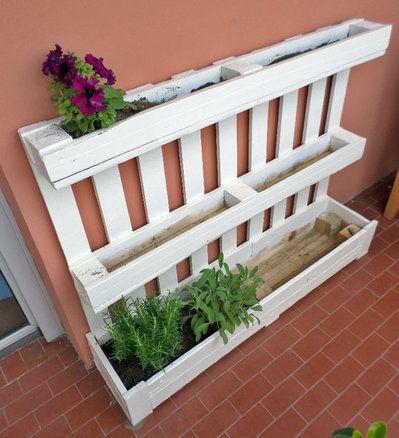 Fioriera bianca da riuso pancale pallet,per giardino o terrazza ...