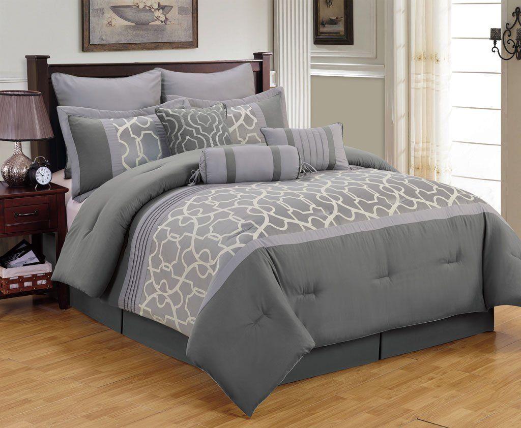 Amazon.com: 13 Piece King Aisha Gray Bed in a Bag Set ...