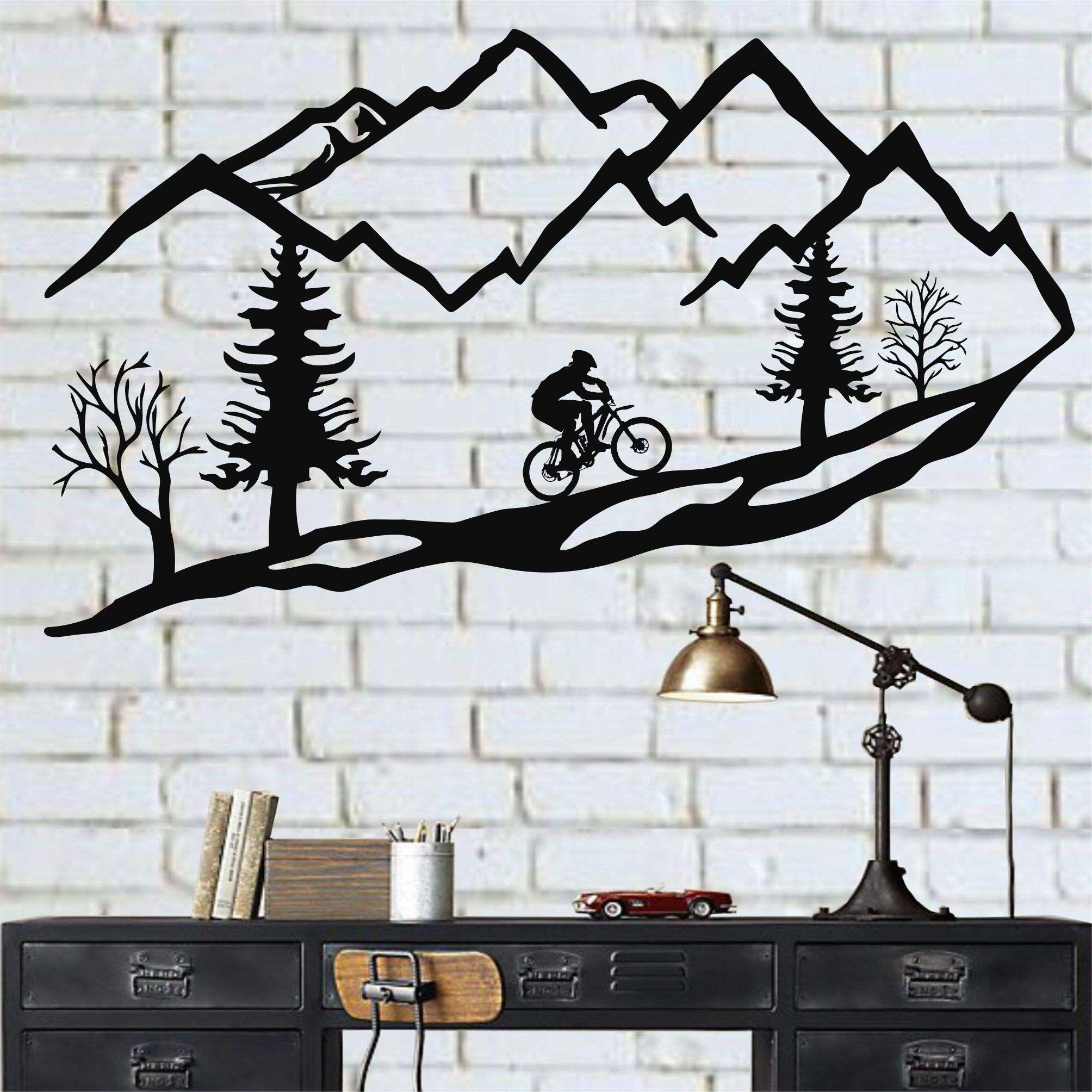 Dekadron Metal Wall Art Mountain Bike Trees Mountain Bike Metal Wall Decor Home Decoration Living Room Decor Housewarming Bike In 2020 Wandkunst Aus Metall Metallwande