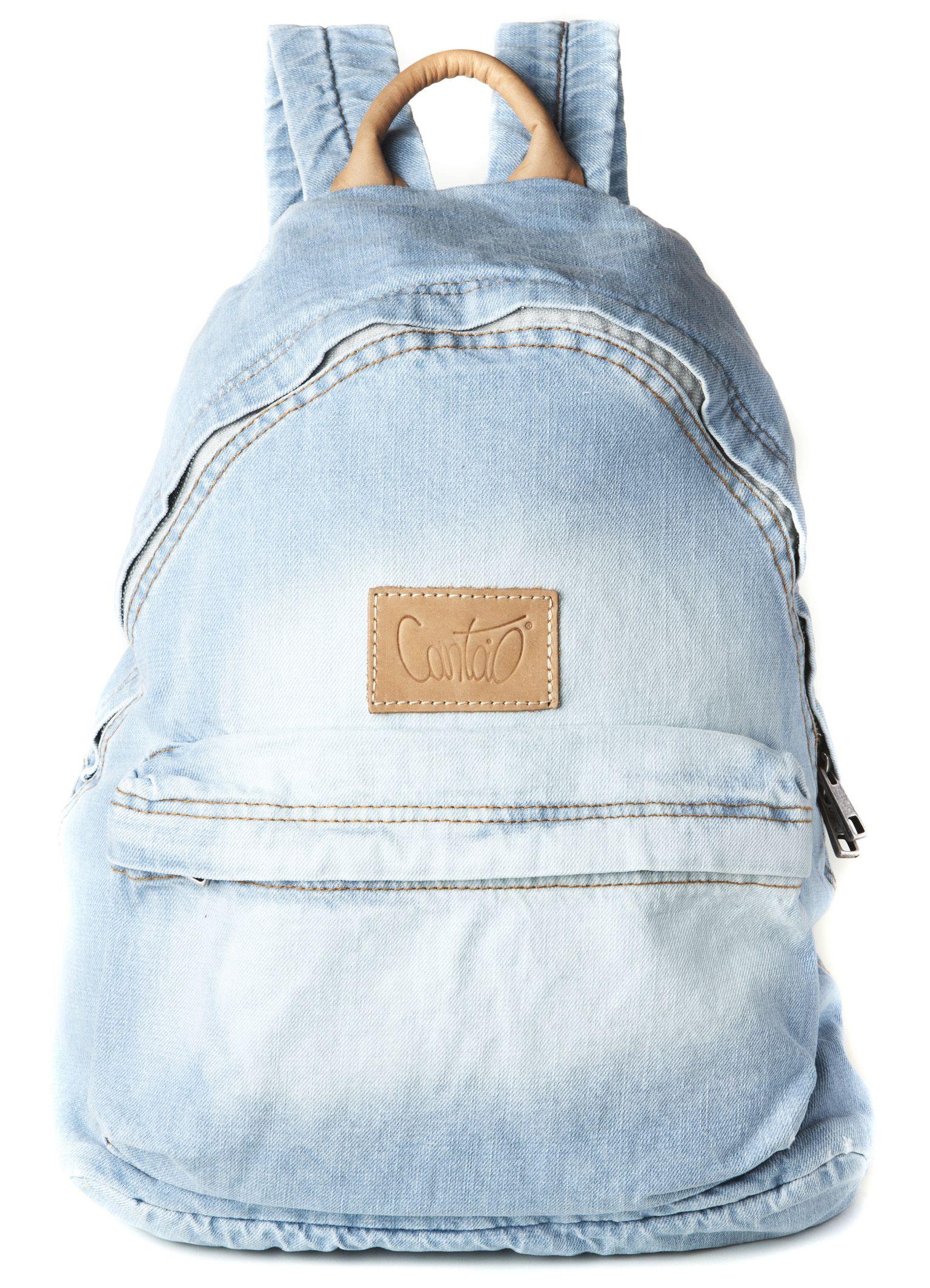 92a8771fb MOCHILA JEANS DETALHE COURO | backpacks | Bags, Backpacks e Fashion ...