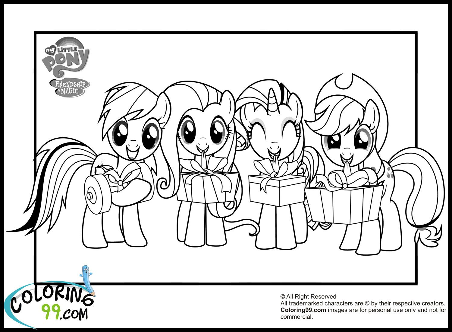 Young my little pony coloring pages - Rainbow Dash Fluttershy Twilight And Apple Jack My Little Pony Coloring Page