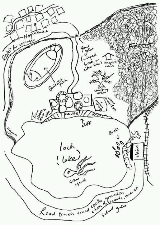 J K Rowlings Drawing Of Hogwarts And The Immediate Area From