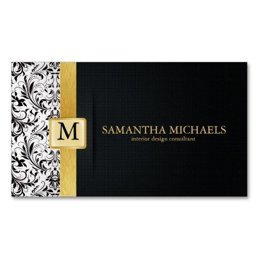 Damask Monogram Interior Design Business Cards