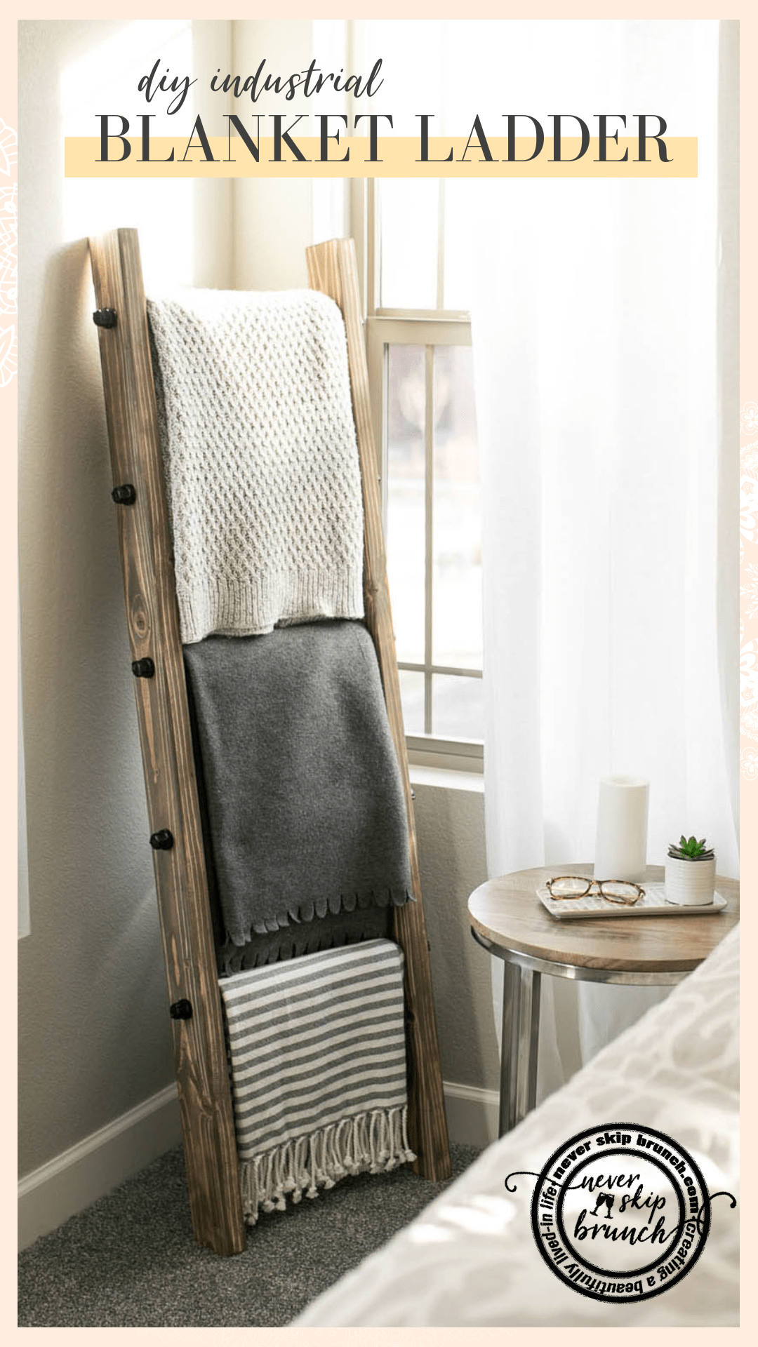 How to make a DIY Industrial Style Blanket Ladder under $60 #homedecor