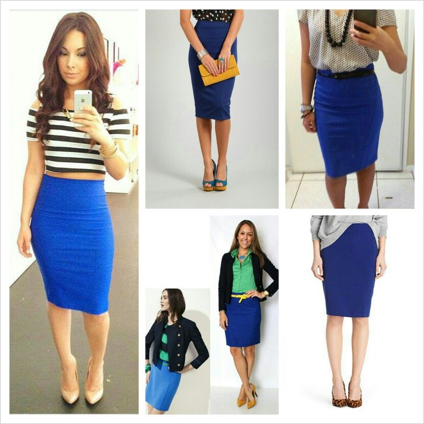 best quality for temperament shoes purchase cheap Royal Blue pencil skirt- work attire on the right! Very nice ...