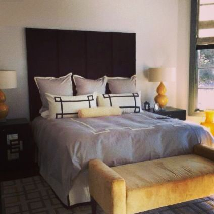 Black Velvet Upholstered Headboard. Photo Courtesy Of Dallas Design Group,  Interiors (Dallas,