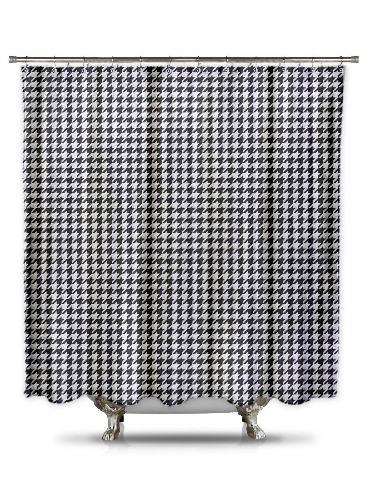 Black And White Houndstooth Shower Curtain Sale Fabric Shower