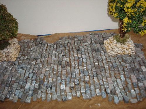 R alisation d 39 un sol pav creche pinterest pav s cr che et maquettes - Fabriquer une creche de noel en pierre ...