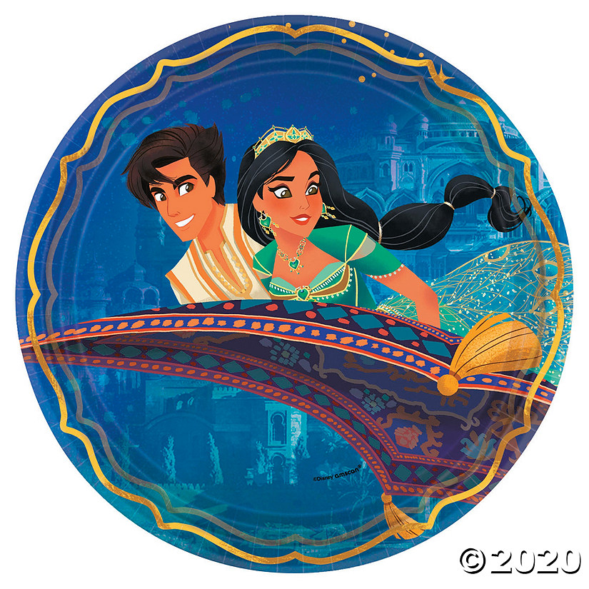 Aladdin Paper Dinner Plates 8 Ct Oriental Trading In 2020 Aladdin Party Aladdin Birthday Party Supplies