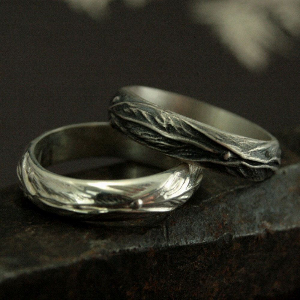 elven ring sterling silver leaf design ring fantasy inspired mens ring woodland ring wiccan weddingmen - Wiccan Wedding Rings