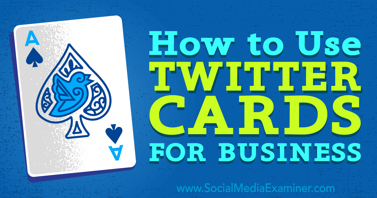 How to Use Twitter Cards for Business http://www.socialmediaexaminer.com/how-to-use-twitter-cards-for-business?utm_source=rss&utm_medium=Friendly Connect&utm_campaign=RSS @smexaminer