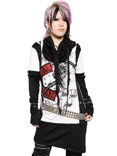 Custom 2WAY LONG Cutsew White x Black / Neck Warmer: Red Painting. See more at: http://www.cdjapan.co.jp/apparel/sexpot.html #punk #jrock