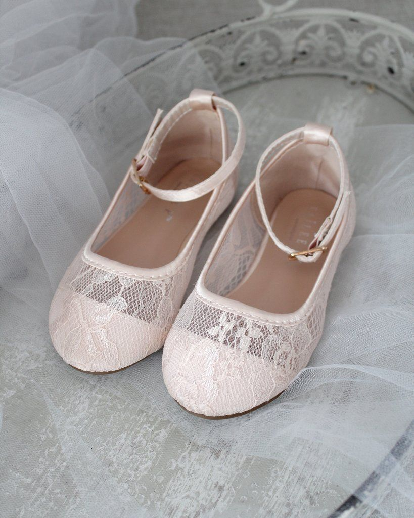Blush new lace flats with ankle strap lace flats flower