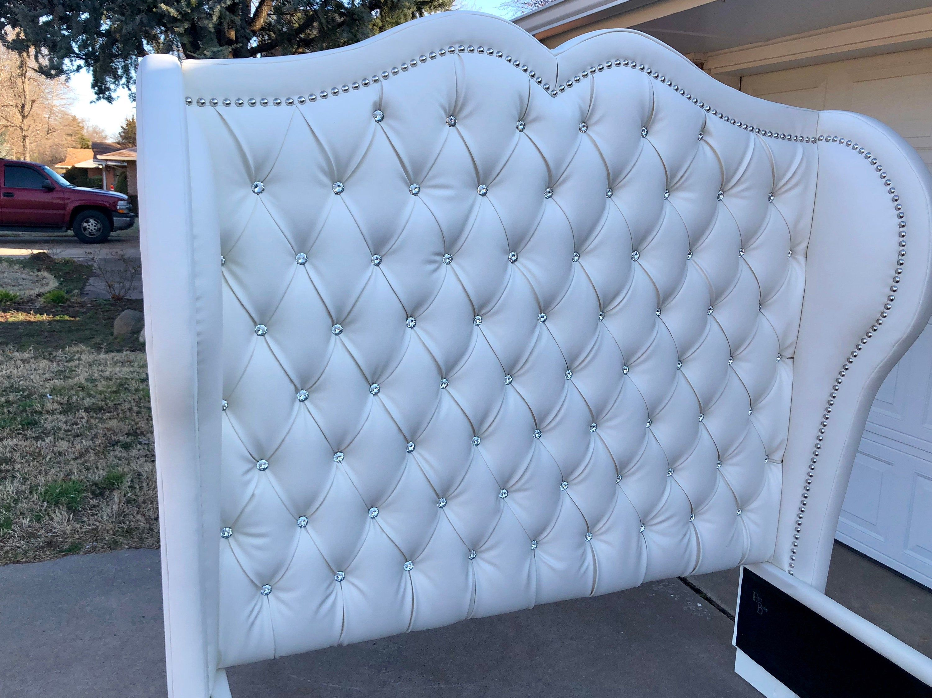 Tall Upholstered Tufted Headboard Bed Frame Curved Choose