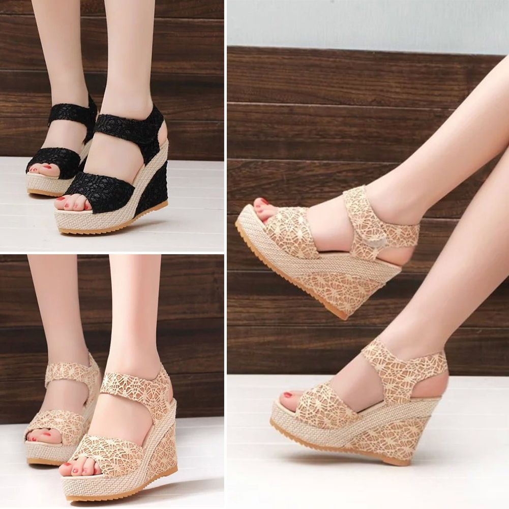 6ca5d37d5355 Womens Lace Floral Peep Toe Ankle Strap Wedge High Heels Platform Dress  Shoes