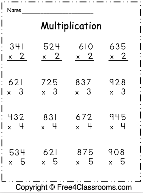 Free Multiplication Worksheet 3 Digit By 1 Digit Free4classrooms Free Multiplication Worksheets Multiplication Worksheets Multiplication