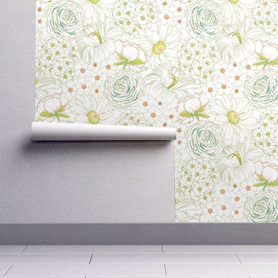 Removable Water-Activated Wallpaper Rococo Yellow And White Roses French Summer